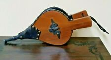 """Vintage Bellows Fire Place blower hand pump Eagle Wooden and Leather Black 15"""""""