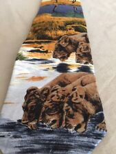 Lion Long Silk Neck Tie Lioness Watering Hole Animal Endangered Species River