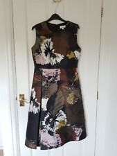 NEW Linea Black Leaf Print Midi Dress UK12 Summer Occasion Wedding Party Formal