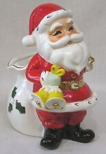 Vintage Norcrest Christmas Santa Claus Planter Gold Bells Made In Japan