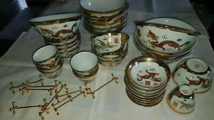 VINTAGE 62 pc DINNER SET CHINESE WHITE GOLD PORCELAIN 8 PERSONS NEW £2.82x piece