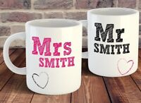 Personalised Mr and Mrs Mug Gift Set HIS HER Couples Wedding anniversary Gift