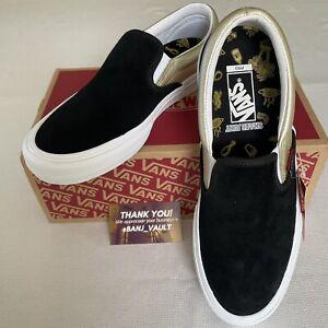 Vans x Shake Junt Slip-On Pro Skate SUEDE Shoes Black/Gold Men's 11