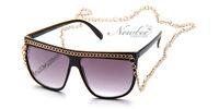 Black Snooki Sunglasses Long Chain Women GaGa Glasses Jersey Shore Celebrity