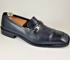 🔥 Salvatore Ferragamo Mens 10 D Black Leather $822 MSRP Loafers Logo Horsebit