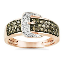 Diamond Belt Buckle Ring 10K Rose Gold Chocolate Brown & White Diamonds .49ct