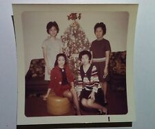 Vintage 70s PHOTO Retro Asian Family Fishnets Posing In Front Of Christmas Tree