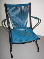 Ancien fauteuil pliant enfant chromé scoubidou 1970 - Vintage Chair children