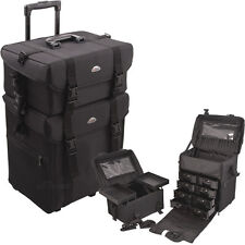 Professional Rolling Makeup Case Nylon Soft Organizer Wheeled Trolley Storage