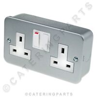 METAL CLAD 13 AMP DOUBLE 2 GANG SWITCHED ELECTRICAL MAINS WALL PLUG SOCKET 13A