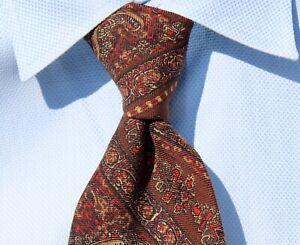 Resilio Vintage Brown, Taupe, Black, White, & Red Paisley 100% Wool Necktie