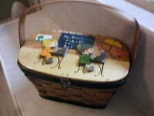 Vtg  lacquer wicker w wood lid Basket purse handpainted School theme.cloth lined