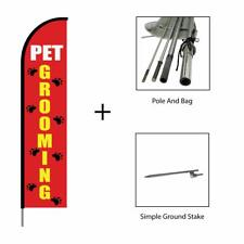 Pet Grooming Feather Flag Swooper Banner Pole Kit Advertising Sign, 15ft - Red