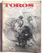Vintage April 1962 Toros (Matador) Bullfighting Review In English Magazine