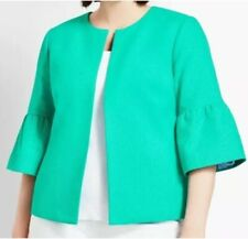 NWT ($179.00) Talbots 22W Beautiful Green Ruffle Sleeves Lined Fly-away Blazer