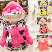 Toddler Kids Baby Girls Minnie Mouse Hooded Jacket Coat Top Winter Snowsuit UK