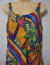 Palm Bay Women's Medium Hawaiian Sun Dress Rayon Bright Colorful Abstract Trees