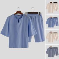 100%coton pyjama pour hommes ensemble pyjama à manches courtes vêtements de nuit