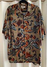 CAMPIA MODA Brown Rayon Artsy Floral Print Shirt~XL Mint