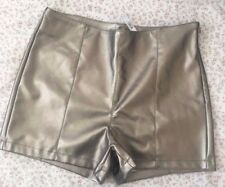 ASOS METALLIC SILVER / PEWTER HIGH WAISTED SHORTS BRAND NEW WITH TAGS SIZE 10