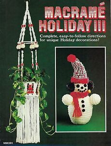 Macrame Christmas Patterns Snowman Stockings Macrame Holiday III Book MM381