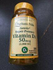 New Puritan's Pride Vitamin D3 Super-Potency 2,000iu 50mcg 100 Softgels Sunvite
