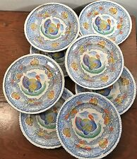 8 Antique Turkey Plates Blue White Staffordshire England Transfer Ware Painted