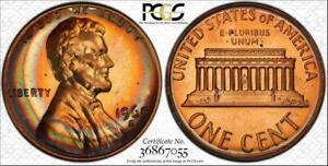 1968-S 1c LINCOLN MEMORIAL PENNY BU PCGS PR66RB CIRCLE TONED LOW POP