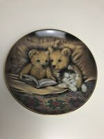 """CUTE FRANKLIN MINT """"Sue Willis"""" Teddy Bear  Limited Edition Plate BEDTIME STORY"""