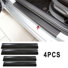 4pc 3D Carbon Fiber Look Car Door Plate Sill Scuff Cover Sticker Panel Protector