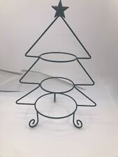 3 Tier Serving Tree Metal Green 3 Bowls Christmas Tree Star Chips Nuts Candy EUC