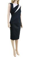 Karen Millen DA069 Women's Black Diagonal Seam Pencil Evening Midi Dress UK 8 36