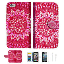Hot Pink AZTEC TRIBAL Wallet  Case Cover For Apple iPhone 6 6S -- A004