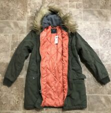 Abercrombie & Fitch Twill Parka Coat Jacket Army Green