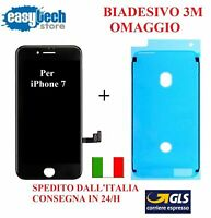 Touch Screen LCD Display frame Biadesivo iPhone 7 vetro schermo NERO