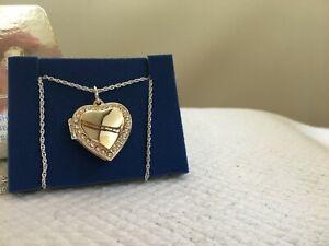 2004 Avon Heart Shaped Locket w Rhinestone Accents