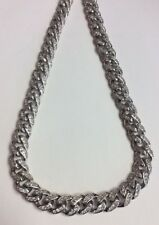 """REAL STERLING SILVER Cuban Link Rhodium Plated CZ Design Chain 28"""" NECKLACE 174g"""
