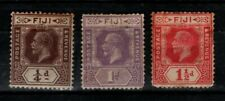 Fiji 1922 1929 King George V ¼d, 1d, 1½d SG228, 231-32 Mint MH see note