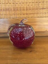 VINTAGE Glass Apple Paperweight Hand Blown Glass Millefiori Paper Weight Red