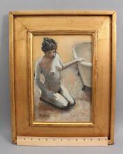 1970s Authentic ROY COLLINS Impressionist Nude Woman Portrait Oil Painting