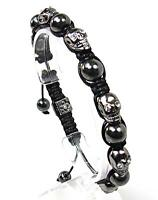 Mens Womens Crystal Hematite Silver Skull Beaded Bracelet