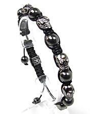 Mens Womens Crystal Hematite Silver Skull Beaded Shamballa Bracelet