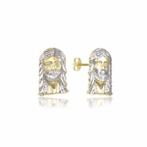 10K Solid Yellow White Gold Jesus Head Stud Earrings - Christ Cross Men Women