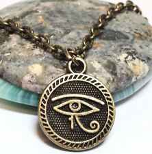"""EGYPTIAN_Bronze Pendant + 18"""" Chain Necklace_Ancient Luck Protection Symbol_414N"""