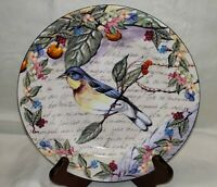 """Salad/Dessert Plate Morning Song by AMERICAN ATELIER Warbler 8 1/4"""""""