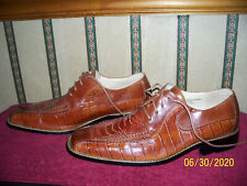 STACY ADAMS BROWN LEATHER DRESS SHOES SNAKE PRINT LEATHER SIZE 11 M NICE!!