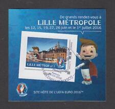 France - Bloc autocollant oblitéré 1er Jour Euro de Football 2016 - Lille - TB
