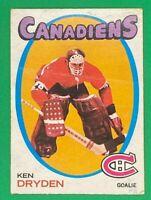 Ken Dryden RC 1971-72 O-Pee-Chee OPC #45 Rookie NHL