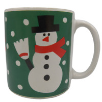 Westwood Snowman Christmas Coffee Mug Hayward CA Croft Green White Vintage 1991