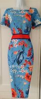 Womens Kaleidoscope Blue Red Floral Botanical Stretch Wiggle Pencil Dress 10 New